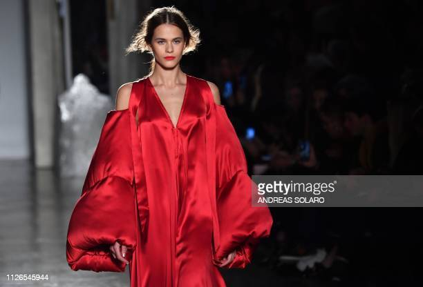 A model presents a creation during the Genny women's Fall/Winter 2019/2020 collection fashion show on February 21 2019 in Milan