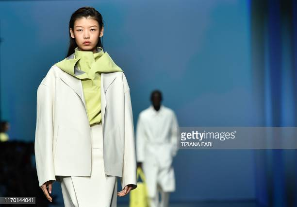 A model presents a creation during the Hugo Boss Spring Summer 2020 fashion show presented on September 22 2019 in Milan