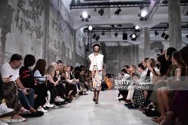 A model presents a creation during the Marni fashion show as part of the Women's Spring/Summer 2019 fashion week in Milan on September 23 2018