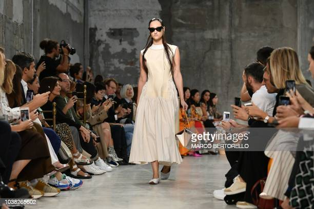 Model presents a creation during the Marni fashion show, as part of the Women's Spring/Summer 2019 fashion week in Milan, on September 23, 2018.