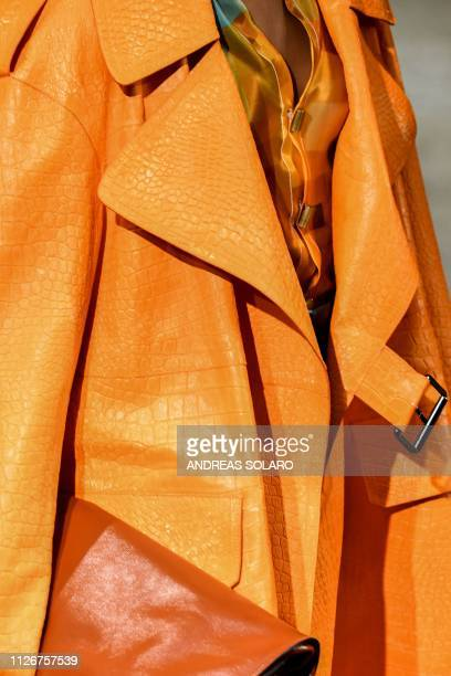 A model presents a creation during the Marni women's Fall/Winter 2019/2020 collection fashion show on February 22 2019 in Milan