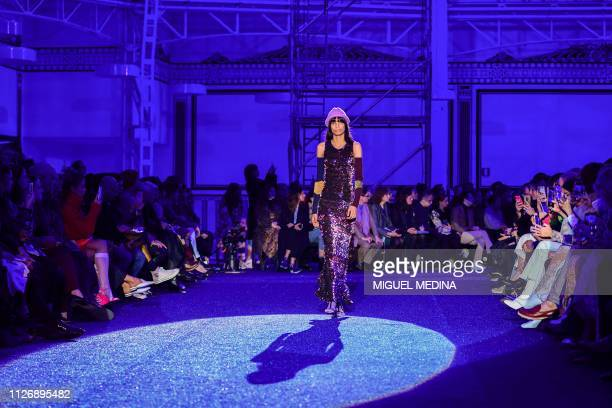 A model presents a creation during the Missoni women's Fall/Winter 2019/2020 collection fashion show on February 23 2019 in Milan