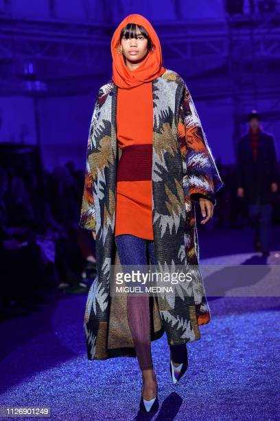 Model presents a creation during the Missoni women's Fall/Winter 2019/2020 collection fashion show, on February 23, 2019 in Milan.