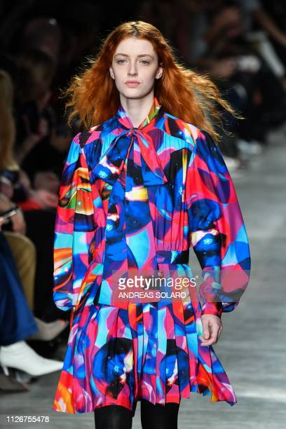 Model presents a creation during the MSGM women's Fall/Winter 2019/2020 collection fashion show, on February 22, 2019 in Milan.