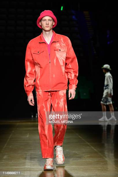 A model presents a creation during the presentation of Italian fashion brand MSGM's SpringSummer 2020 collection as part of a Pitti Special...