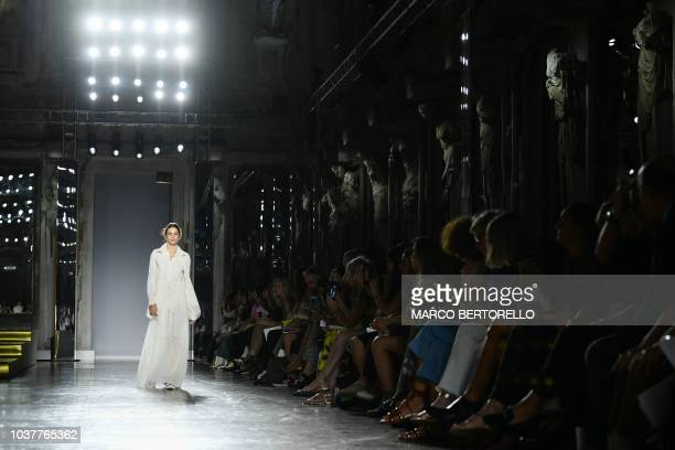 A model presents a creation during the presentation of the Les Copains fashion show as part of the Women's Spring/Summer 2019 fashion week in Milan...
