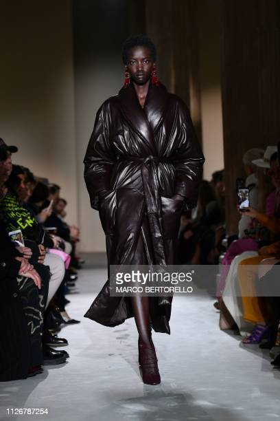 A model presents a creation during the Salvatore Ferragamo women's Fall/Winter 2019/2020 collection fashion show on February 23 2019 in Milan