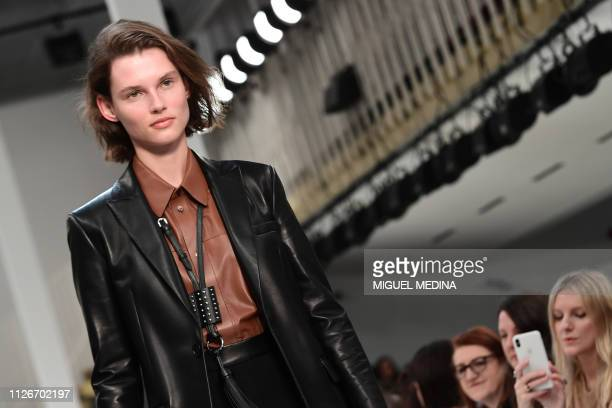 Model presents a creation during the Tod's women's Fall/Winter 2019/2020 collection fashion show, on February 22, 2019 in Milan.
