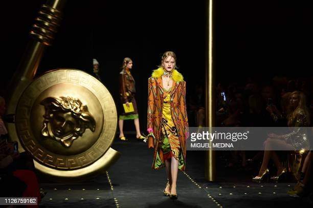 A model presents a creation during the Versace women's Fall/Winter 2019/2020 collection fashion show on February 22 2019 in Milan