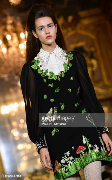 Model presents a creation during the Vivetta women's Fall/Winter 2019/2020 collection fashion show, on February 21, 2019 in Milan.
