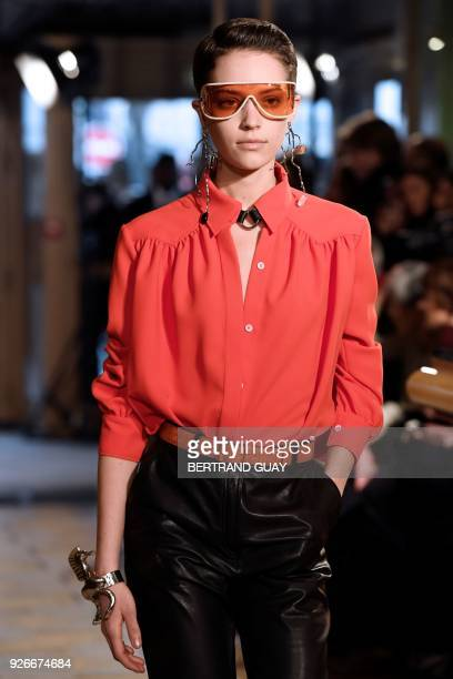 A model presents a creation for Altuzarra during the 2018/2019 fall/winter collection fashion show on March 3 2018 in Paris