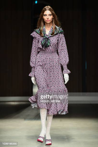A model presents a creation for Atsushi Nakashima during the Women's Spring/Summer 2019 fashion shows in Milan on September 24 2018