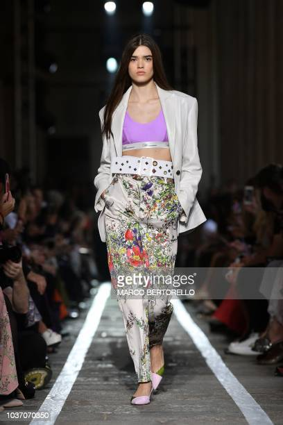 A model presents a creation for Blumarine fashion house during the Women's Spring/Summer 2019 fashion shows in Milan on September 21 2018