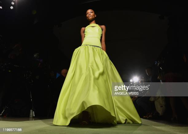 Model presents a creation for Brandon Maxwell during New York Fashion Week: The Shows at the American Museum of Natural History on February 8, 2020...