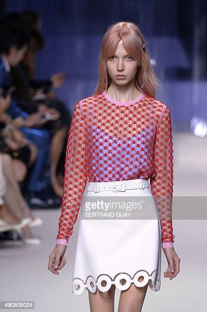 A model presents a creation for Carven during the 2016 Spring/Summer readytowear collection fashion show on October 1 2015 in Paris AFP PHOTO /...