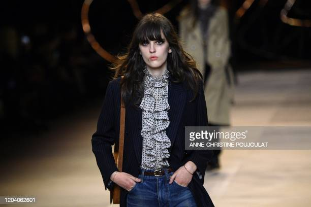 Model presents a creation for Celine during the Women's Fall-Winter 2020-2021 Ready-to-Wear collection fashion show in Paris, on February 28, 2020.