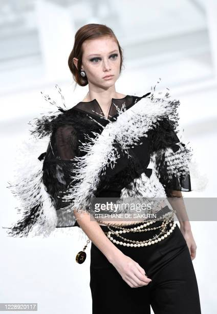 Model presents a creation for Chanel during the women's Spring/Summer 2020/2021 collection fashion shows in Paris on October 6, 2020.