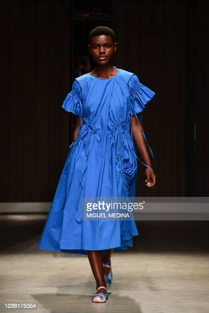 A model walks the runway at the Chika Kisada show during Milan Fashion Week Spring/Summer 2019 on September 24 2018 in Milan Italy