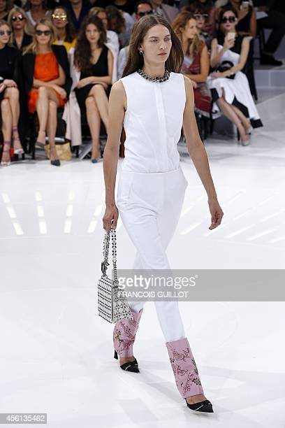 A model presents a creation for Christian Dior during the 2015 Spring/Summer readytowear collection fashion show on September 26 2014 in Paris AFP...