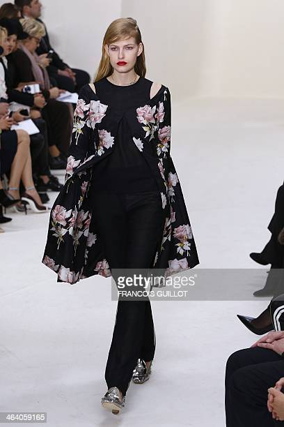 A model presents a creation for Christian Dior during the Haute Couture SpringSummer 2014 collection show on January 20 2014 in Paris AFP PHOTO /...