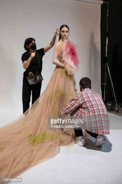 Model presents a creation for Christian Dior during the presentation of the Fall/Winter 2021 ready-to-wear fashion collection, on March 6 in...