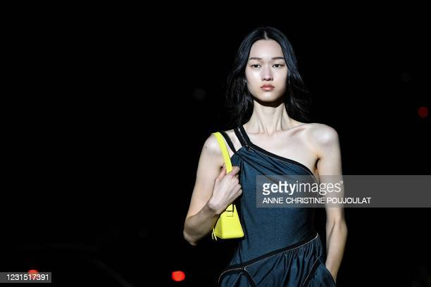 Model presents a creation for Coperni AW21 Women's Fall-Winter 2020-2021 Ready-to-Wear collection fashion show at Bercy Arena in Paris, on March 4,...
