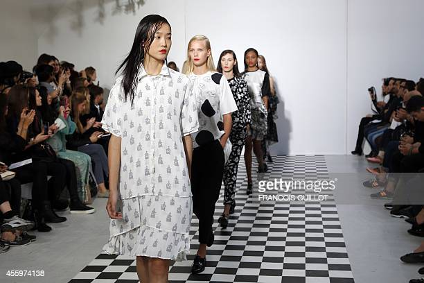 A model presents a creation for Devastee during the 2015 Spring/Summer readytowear collection fashion show on September 23 2014 in Paris AFP PHOTO /...