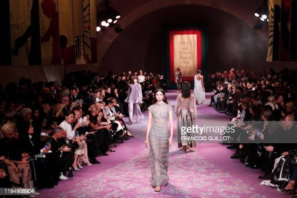 Model presents a creation for Dior during the Women's Spring-Summer 2020/2021 Haute Couture collection fashion show in Paris, on January 20, 2020.