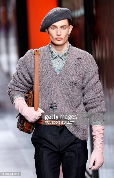 Model presents a creation for Dior Homme during the men's Fall/Winter 2020/2021 collection fashion show in Paris on January 17, 2020.