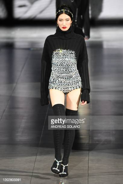 A model presents a creation for Dolce Gabbana's Women Fall Winter 2020 fashion collection on February 23 2020 in Milan