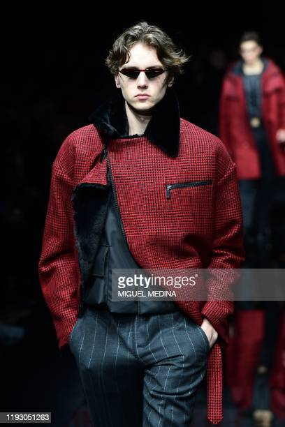 Model presents a creation for Emporio Armani as part of the men's fall/winter 2020/21 fashion collections in Milan on January 11, 2020.