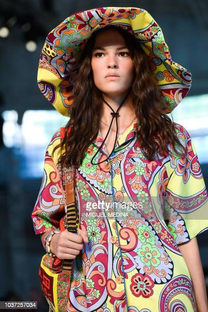 A model presents a creation for Etro fashion house during the Women's Spring/Summer 2019 fashion shows in Milan on September 21 2018