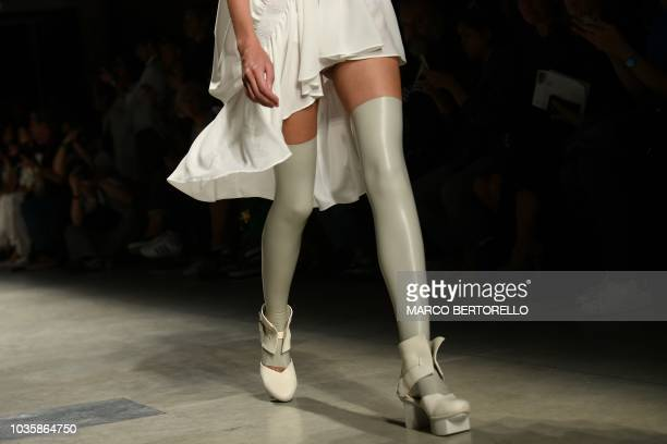TOPSHOT A model presents a creation for fashion house Alberto Zambelli during the Women's Spring/Summer 2019 fashion shows in Milan on September 19...