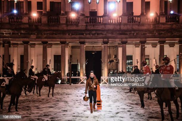 A model presents a creation for fashion house Billionaire during the Men's Fall/Winter 2019/20 fashion shows in Milan on January 12 2019