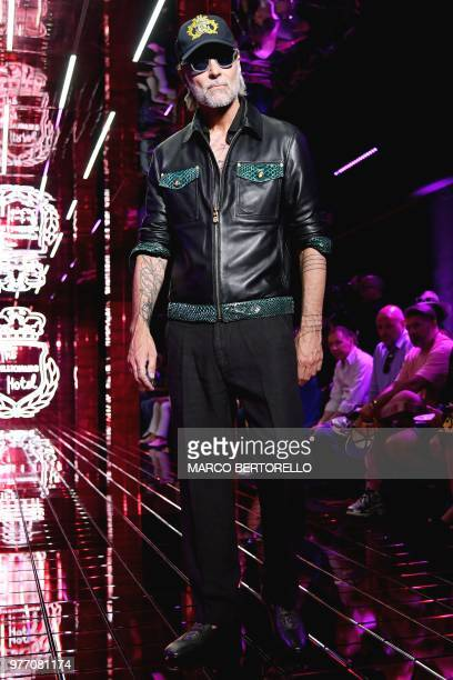 A model presents a creation for fashion house Billionaire during the Men's Spring/Summer 2019 fashion shows in Milan on June 17 2018