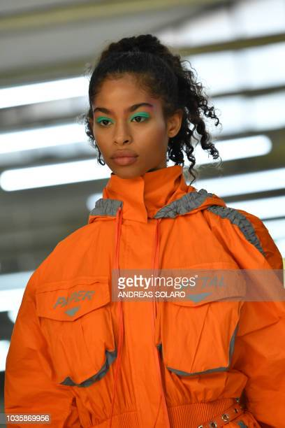 A model presents a creation for fashion house Byblos during the Women's Spring/Summer 2019 fashion shows in Milan on September 19 2018