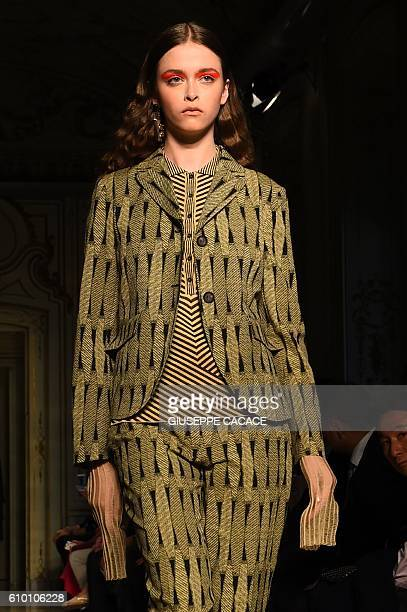 A model presents a creation for fashion house Cividini during the 2017 Women's Spring / Summer collections shows at Milan Fashion Week on September...