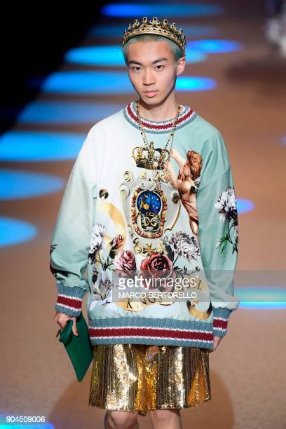 A model presents a creation for fashion house Dolce Gabbana during the Men's Fall/Winter 2019 fashion shows in Milan on January 13 2018 / AFP PHOTO /...