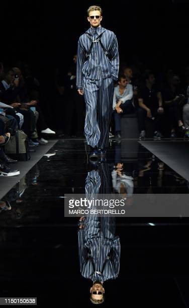 Model presents a creation for fashion house Emporio Armani during the presentation of its men's spring/summer 2020 fashion collection in Milan on...