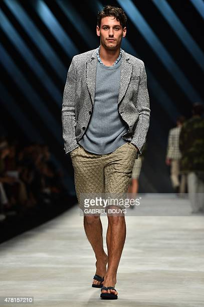 A model presents a creation for fashion house Ermanno Scervino at the Men SpringSummer 2016 Milan's Fashion Week on June 23 2015 AFP PHOTO / GABRIEL...