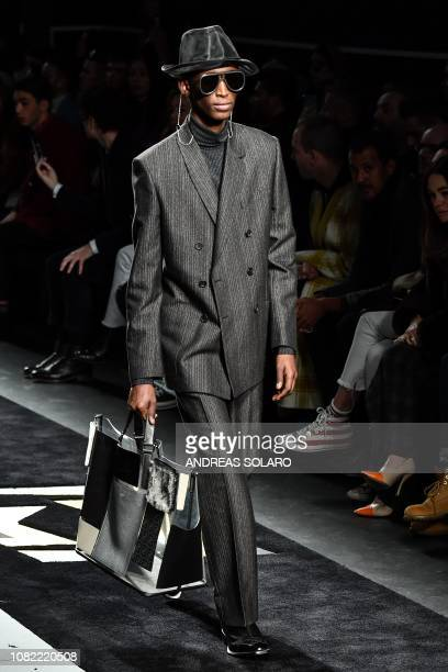 A model presents a creation for fashion house Fendi during its Men's Fall/Winter 2019/20 fashion show in Milan on January 14 2019
