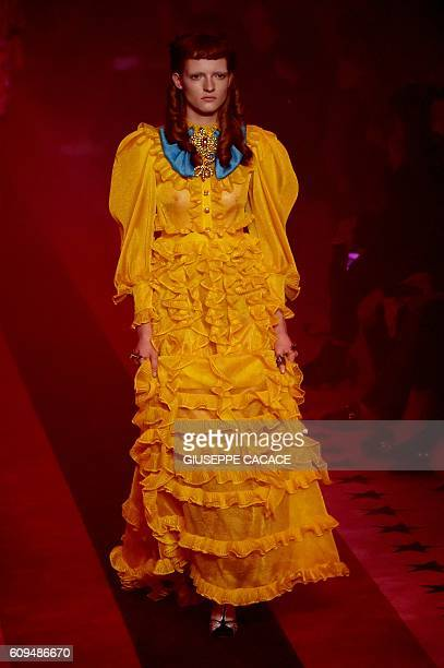 A model presents a creation for fashion house Gucci as part of the 2017 Women's Spring / Summer collections shows at Milan Fashion Week on September...