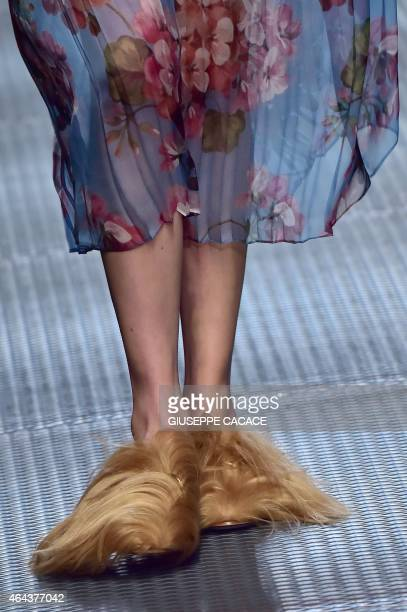 A model presents a creation for fashion house Gucci at the women Fall / Winter 2015/16 Milan's Fashion Week on February 25 2015 in Milan AFP PHOTO /...