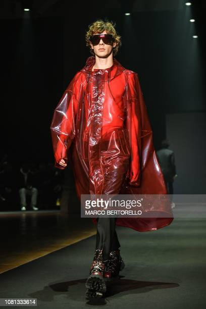A model presents a creation for fashion house Les Hommes during the Men's Fall/Winter 2019/20 fashion shows in Milan on January 12 2019