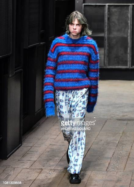Model presents a creation for fashion house Marni during the Men's Fall/Winter 2019/20 fashion shows in Milan, on January 12, 2019.