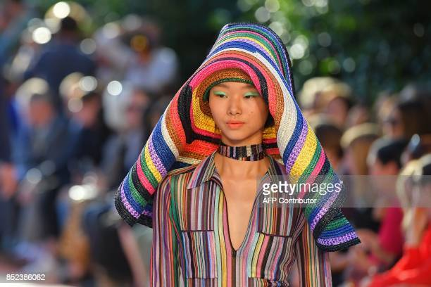 A model presents a creation for fashion house Missoni during the Men and Women's Spring/Summer 2018 fashion shows in Milan on September 23 2017 / AFP...