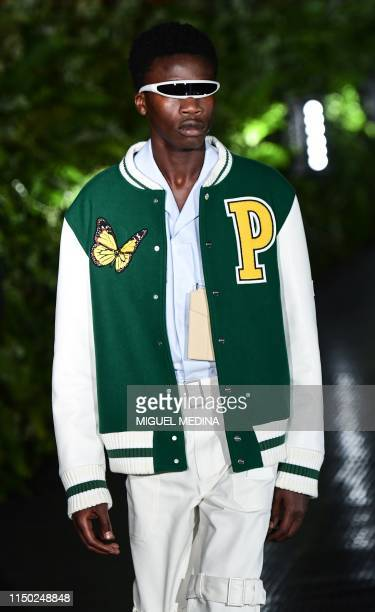 Model presents a creation for fashion house Palm Angels during the presentation of its woman's and men's spring/summer 2020 fashion collection in...