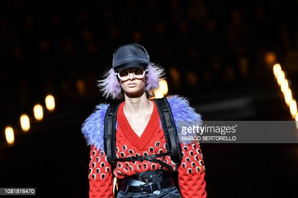 Model presents a creation for fashion house Prada during the Men's Fall/Winter 2019/20 fashion shows in Milan, on January 13, 2019.