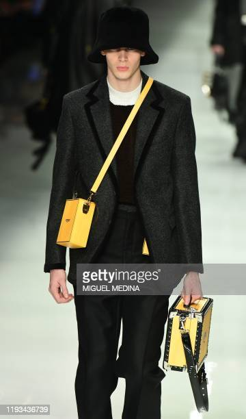 A model presents a creation for Fendi as part of the men's fall/winter 2020/21 fashion collections in Milan on January 13 2020