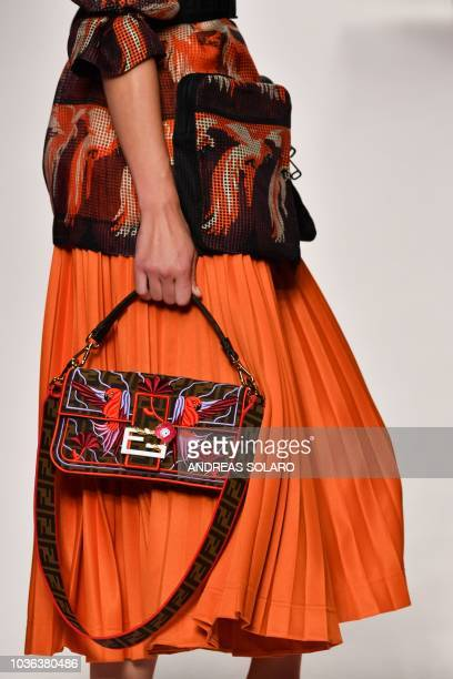 A model presents a creation for Fendi fashion house during the Women's Spring/Summer 2019 fashion shows in Milan on September 20 2018
